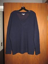 Vince $345 Navy Blue Wool Cashmere Basketweave Knit Slouchy Sweater XL