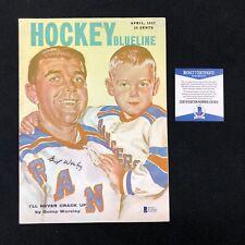 Gump Worsley Signed New York Rangers Hockey Blueline 1957 Magazine Beckett COA