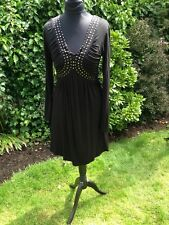 187. YOUNG BLOOD M / L  BOHO STYLE BLACK DRESS WITH STRETCH & STUD DETAIL BNWT