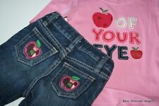 BABY GAP PREPPY PRINTS APPLE Embroidered Patchwork Jeans Top Set Sz 18-24 Months