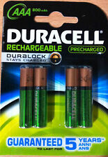 Duracell AAA Rechargeable Batteries 800mAh Pre Charged Hi Power Stays Charged x4