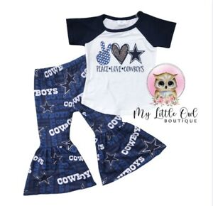 Dallas Cowboys Kid Outfit,Dallas Cowboys Shirt,Dallas Cowboys Bell Bottoms 12-18