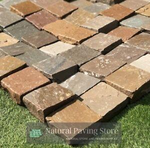 Raj Green natural sandstone paving patio Cobble setts 100mmx100mmx22mm
