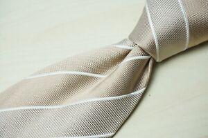 Brioni Luxury Gold White Textured Striped 100% Silk Tie Hand Made Italy