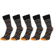 Elegant Stripy Ankle Socks (Size: 4-7, Black/Orange), 6 PACK