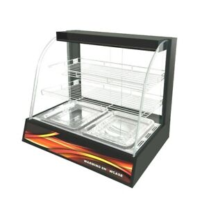 New Heated Black Hot Pie Counter top Food Display Cabinet Lamps Warmer pasties