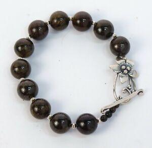"7"" Silpada B1365 Bronzite Bead & Flower Sterling Silver Toggle Bracelet 39.4g"