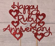 Happy Ruby Wedding Anniversary glitter cake topper 40 years party celebration