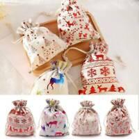 Canvas Hessian Christmas Santa Sack Xmas Stocking Reindeer Kids Gift Storage Bag