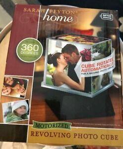"Sarah Peyton Home Motorized Revolving Photo Cube 4"" x 4"" Photo - 360° Auto Spin"
