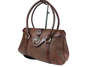 ETRO Paisley Canvas Leather Browns Shoulder Bag ES1027