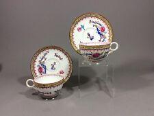 Antique Royal Worcester Enameled Butterflies&wild Flowers Tea Cup&saucer 4pc1878