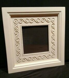 """8""""sq. Painted Resin PICTURE/PHOTO FRAME Ivory Easel Back Removable Swirl-Dot Mat"""