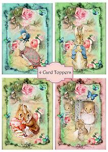 4 Card toppers Peter Rabbit/Card Making/ Peter Rabbit Prints/ Scrapbook/Craft