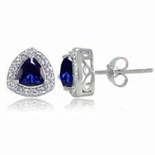 Simulated Stud Sapphire Fine Earrings