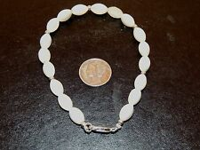 """Sterling Silver and 10x6mm Mother of Pearl Bracelet 8 1/2 """" (7903)"""