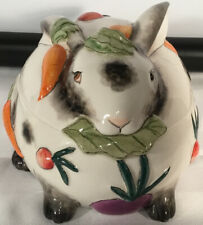 Fitz & Floyd Spotted Rabbit Bunny Lidded Box Candy Dish Easter