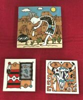 3 Vtg. Southwest Ceramic Tiles/Trivets/Coasters by Earthtones & Masterworks.
