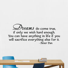 Peter Pan Quote Wall Decal Disney Vinyl Sticker Nursery Decor Lettering 256crt