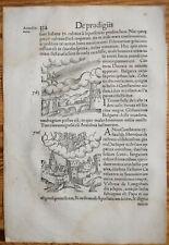 Wolfhart Chronicon Rare Woodcut Leaf Eclipse Sun Horseman Sky (334) - 1557
