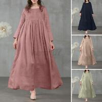 ZANZEA Womens Long Sleeve Square Neck Tunic Casual Loose Solid Cotton Maxi Dress
