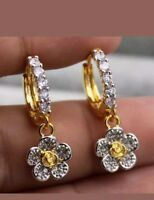 Dazzling Yellow Gold Filled - Daisy Flower cubic Zirconia small hoop earrings