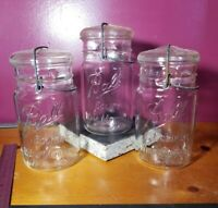 Vintage (3) Ball Jar Eclipse Wide Mouth Mason Jar Clear Quart W/ Origonal Lids!!