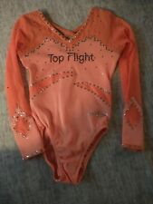 Girls Sz 4 / 5 Sleeve Competition Gymnastics Leotard w/ Bling neon orange top