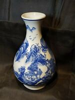 "10"" Chinese Jingdezhen Blue White Porcelain Mountains & Landscape Scenery Vase"