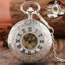 Silver Skeleton Pocket Watch Handwinding Mechanical Roman Number Pendant Chain