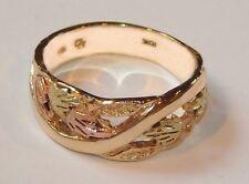 Black Hills Gold 10 kt 12 kt Ladies Five Leaf Wide Band Ring Size 8
