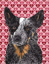 Australian Cattle Dog Hearts Love Valentine's Day Flag, Small, Multicolor