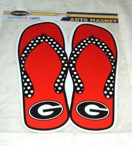 """UNIVERSITY OF GEORGIA RED PAIR OF FLIP FLOP MAGNET 12"""" NEW SEALED"""