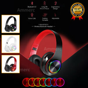 Wireless Gaming Headset With Mic For PS4 PC 7LED MAC Headphones Super Bass BT5.0
