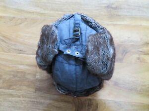 "M&S Faux Fur lined Grey Mix 'Trapper' Style hat size 7 - 7 1/2"" - Unisex?"