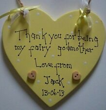 shabby chic personalised fairy godmother keepsake birthday plaque sign gift