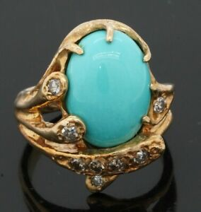 Designer signed 14K gold .24CTW VS diamond/14.7 X 9.7mm turquoise cocktail ring