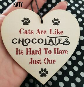 Small Hanging Sign Heart Shaped  Plywood Plaque Family  Gift Love Cat Owner