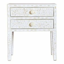 Bone inlay Handmade White Floral Wooden Antique Bedside Table