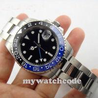 40mm PARNIS black dial sapphire glass GMT ceramic Bezel date automatic men watch