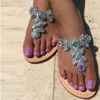 Diamond Jeweled Sandals Flip Flop Drag Queen Plus Size Flat Slippers Women Shoes