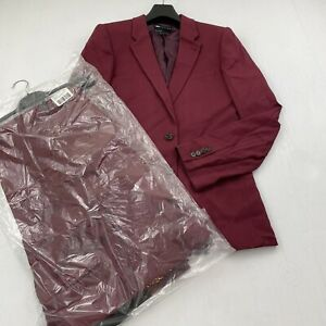 ASOS DESIGN Tall Twill Suit Skinny suit jacket Burgundy 38L Wide Pants 32/36
