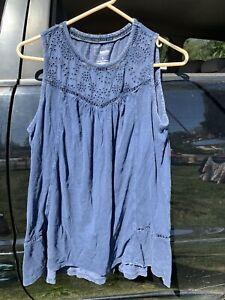 Sonoma Womens Blue Chambray Sleeveless Knit Top Size L