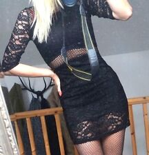LITTLE BLACK LACE see through mini DRESS  woman 8/small 10 UK