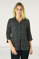 DOROTHY PERKINS Black White Spot Silky Pullover Collared Shirt Size 10 12
