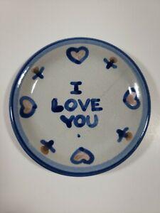 "MA Hadley Pottery Piece 4"" I Love You Coaster Trinket Dish"