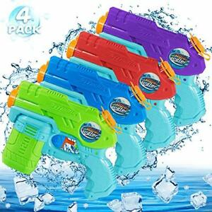 AOLUXLM Water Guns, 4 Packs Water Toys for Kids, Small Water Pistols for Boys 3+