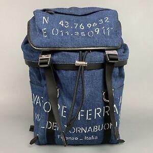 SALVATORE FERRAGAMO Indigo Print Denim Leather Trim Backpack