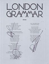 "LONDON GRAMMAR ""STRONG"" GROUP SIGNED LYRIC SHEET"