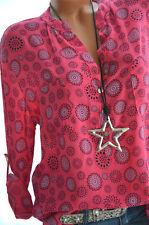 Made in Italy  Langarm Bluse Damen Tunika Top Hemd Shirt Mandala Fischerhemd